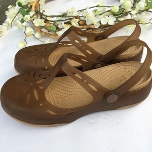 Crocs Mary Jane style. Brown. Ankle strap. Size 9.